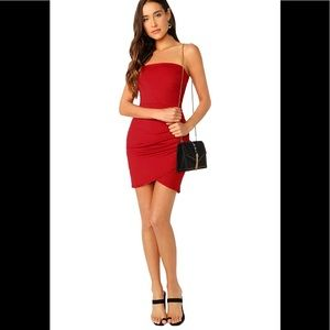 Red bodycon slinky side ruching dress